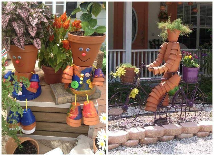 Tontopfmännchen Mit Blumenhaaren Für Den Garten Garten