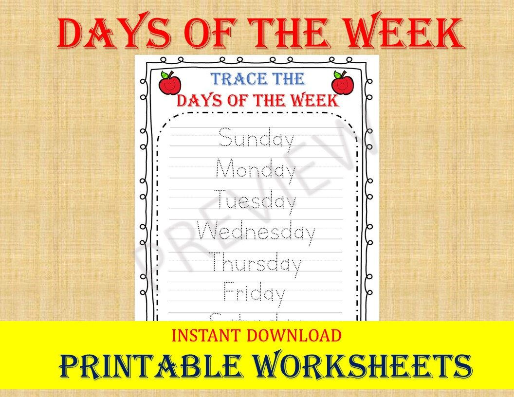 Trace The Days Of The Week Tracing Worksheets Trace