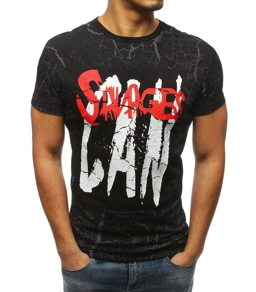 00f23f8abece Pánske čierne tričko s potlačou