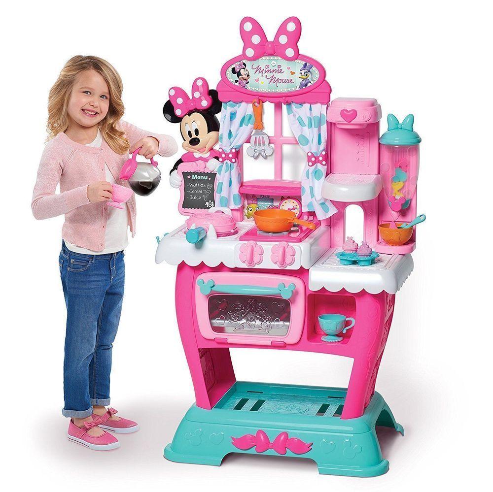 Minnie Mouse Kitchen Play Set Kids Girls Pretend Toys Pink