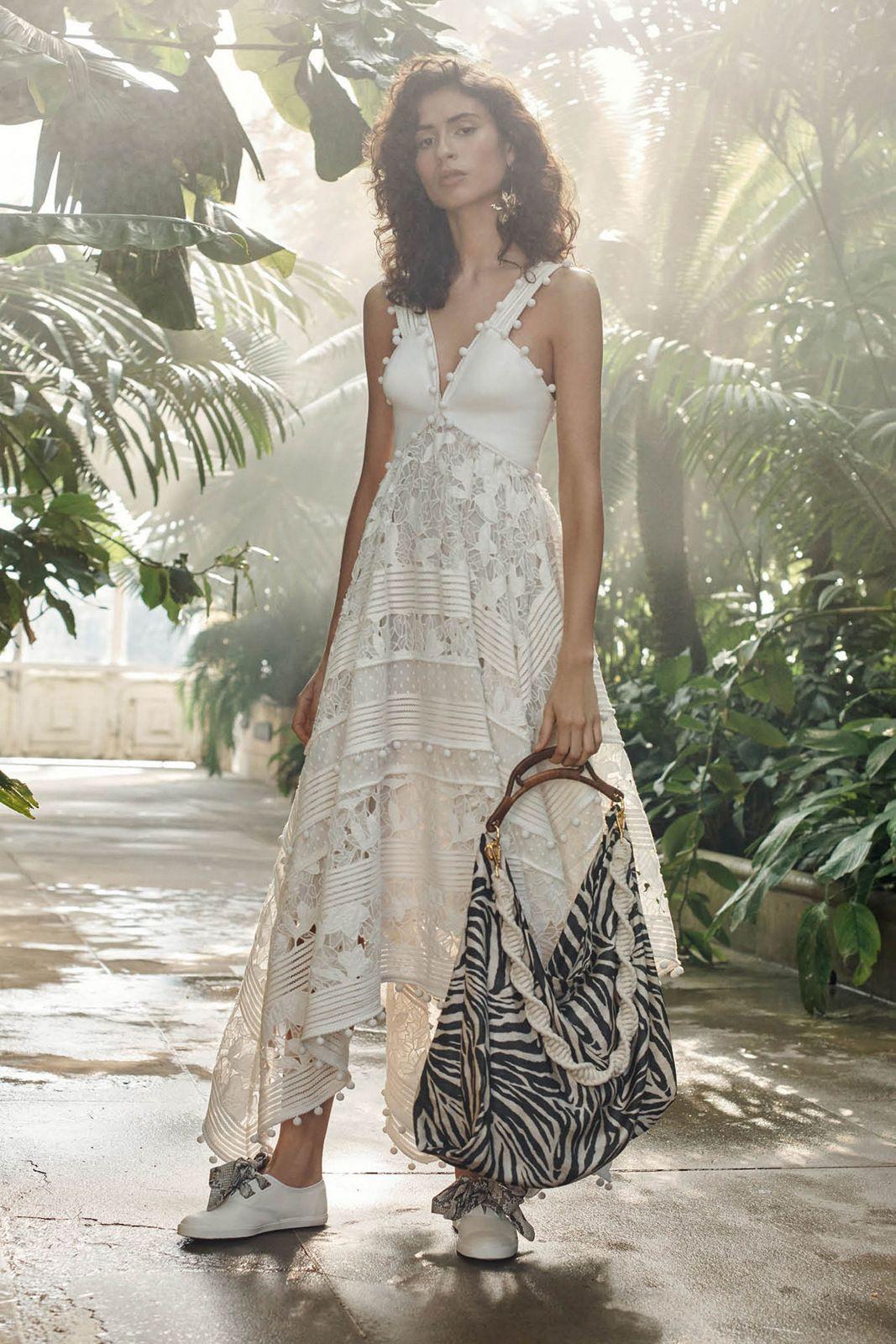 1e39c41fa6fd Zimmermann Resort 2019 - ss19 white lace dress white sneakers zebra bag  designer outfit