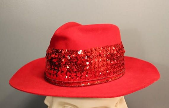 Vintage 50 s-60 s Red Sequence 7 Cowboy Hat by JR Las  a8d2857c8db4