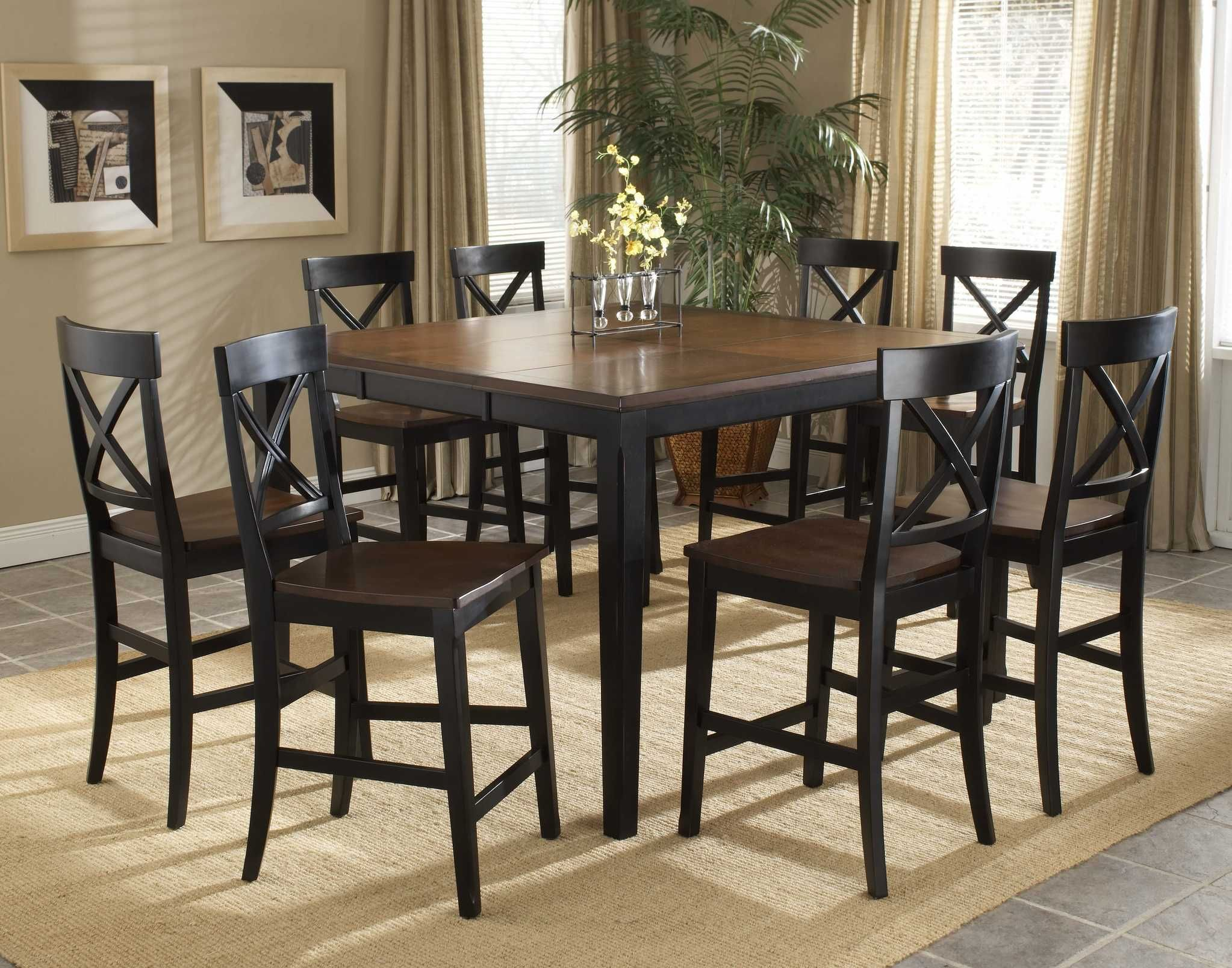 Transitional Distressed Black Counter Height Dining Room Table Set