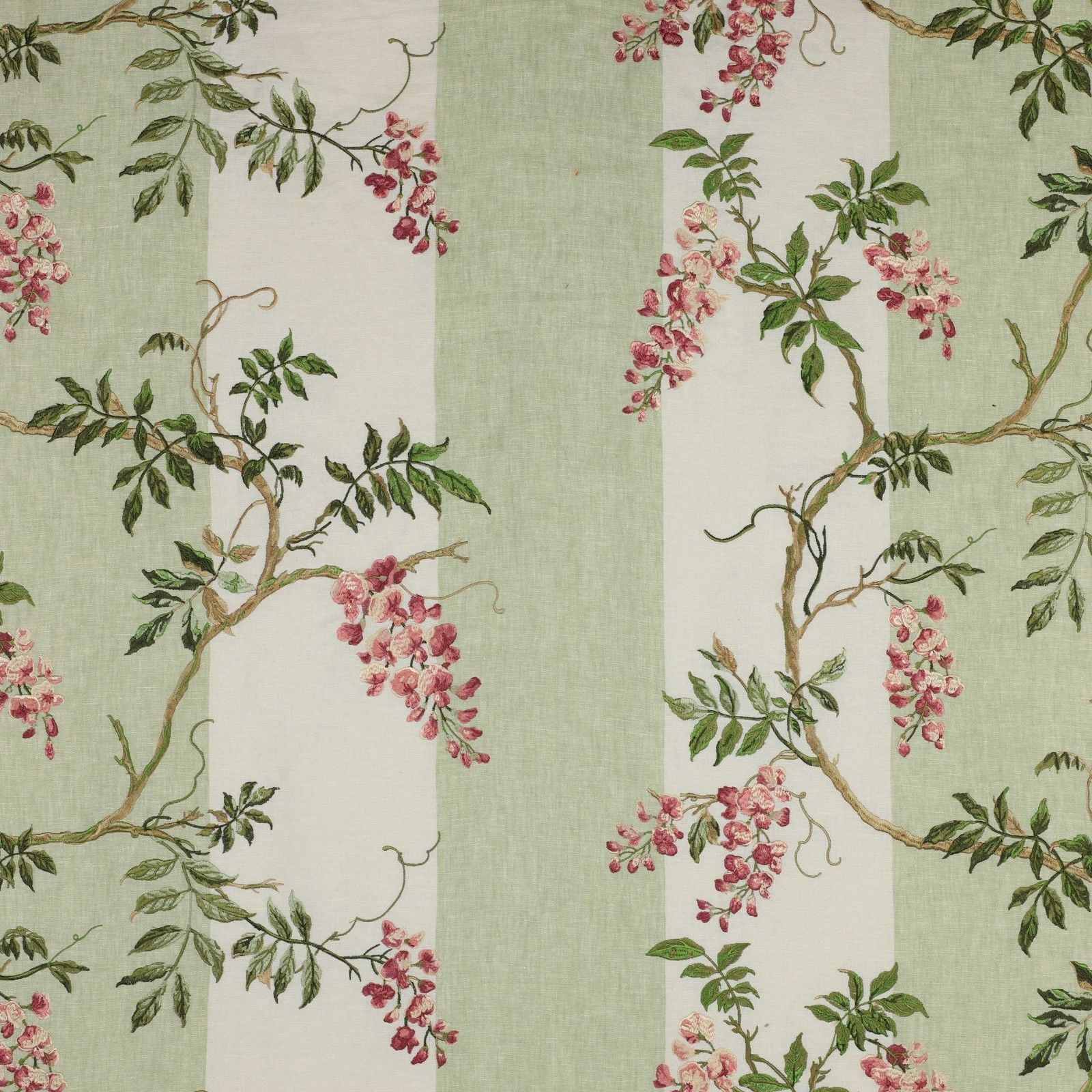 Colefax Fowler Shabby Wisteria Stripes Embroidered Linen