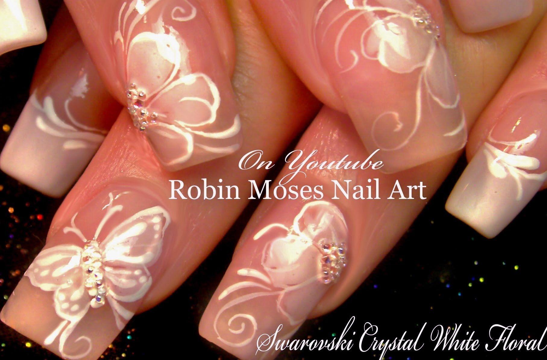 White Flower Nails Diy French Pink Wedding Nail Art Design Tutorial Nail Art Wedding Nail Art Diy Wedding Nail Art Design