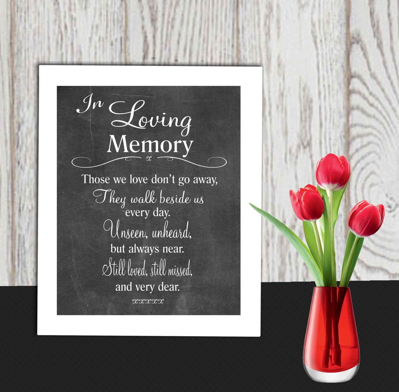 Memorial Sign Printable In Loving Memory Print Wedding Table Poem Those We Love Don