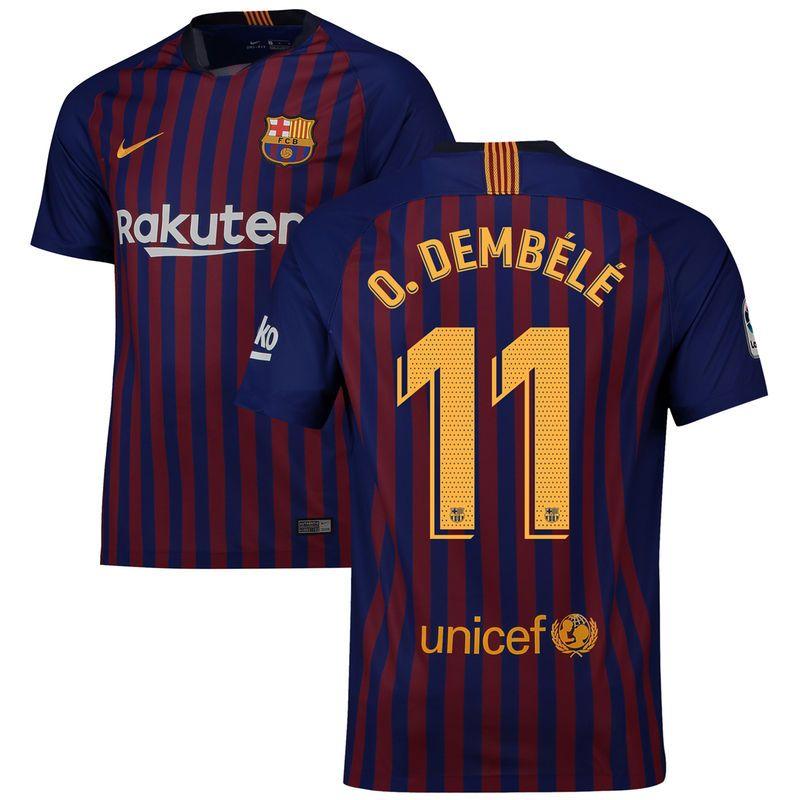 f02af34f0 Ousmane Dembélé Barcelona Nike 2018 19 Home Replica Stadium Player Jersey –  Blue