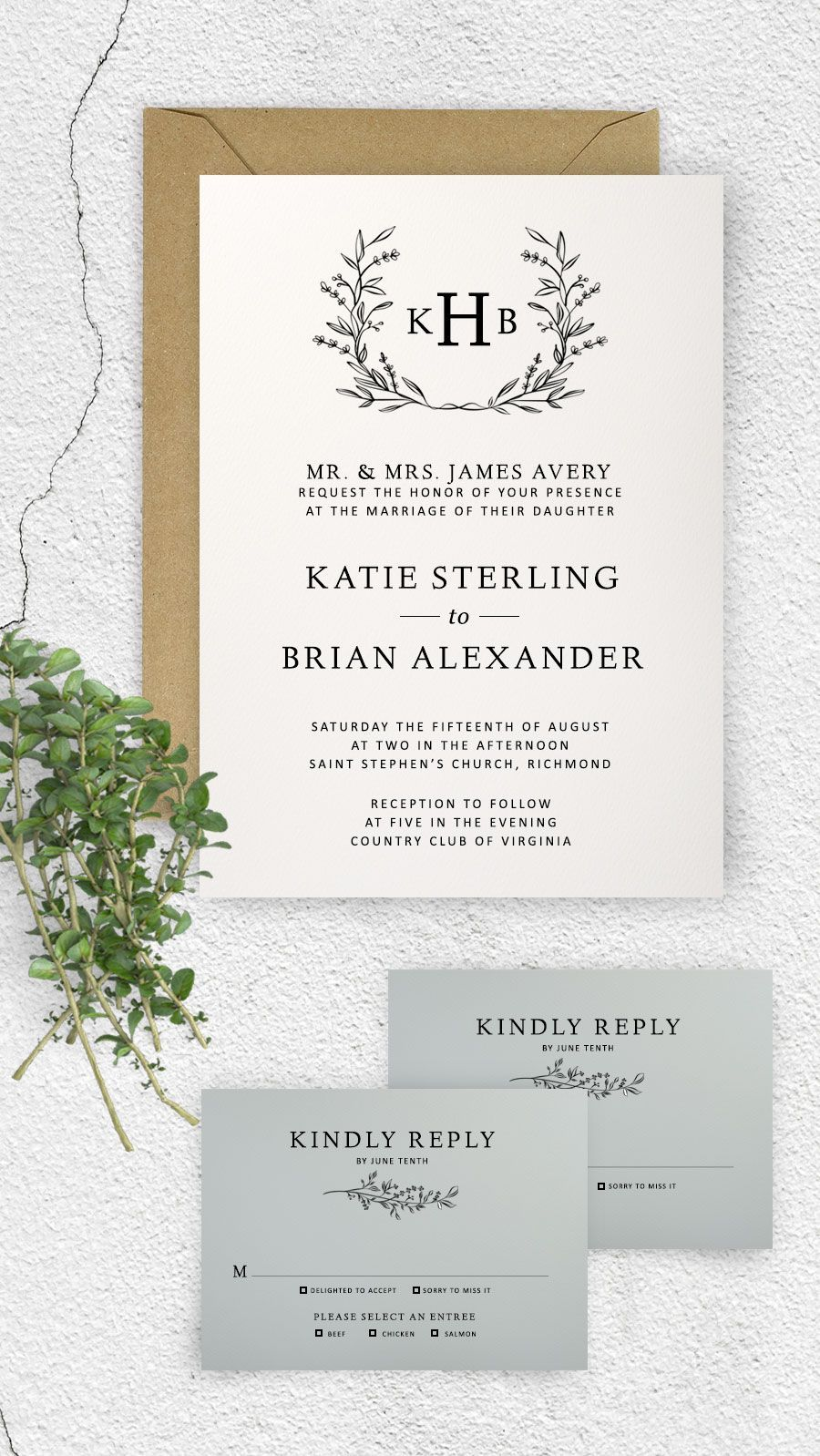 Printable wedding invitations | DIY wedding invitations | Monogram ...