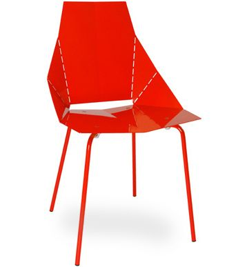 Blue Dot Red Metal Chair.