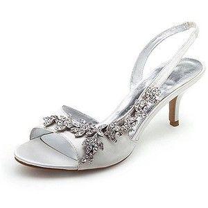 Womenu0027s Satin Upper Mid Heel Strappy Sandals Wedding Bridal .