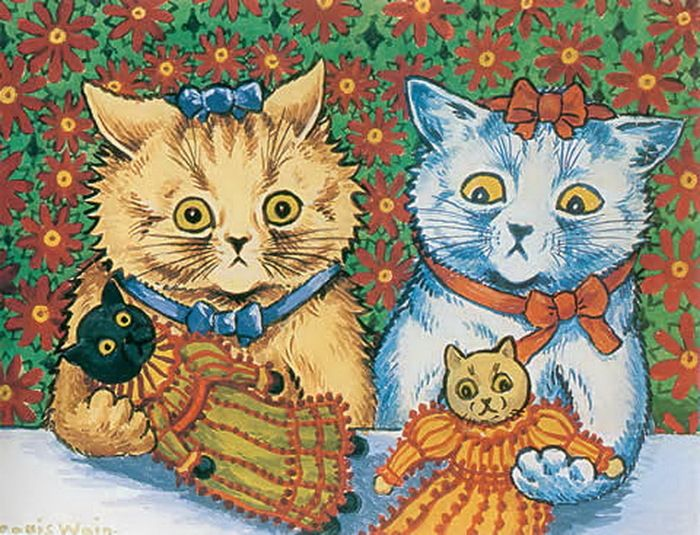 louis wain cats with cat dolls illustration art painting pets animal
