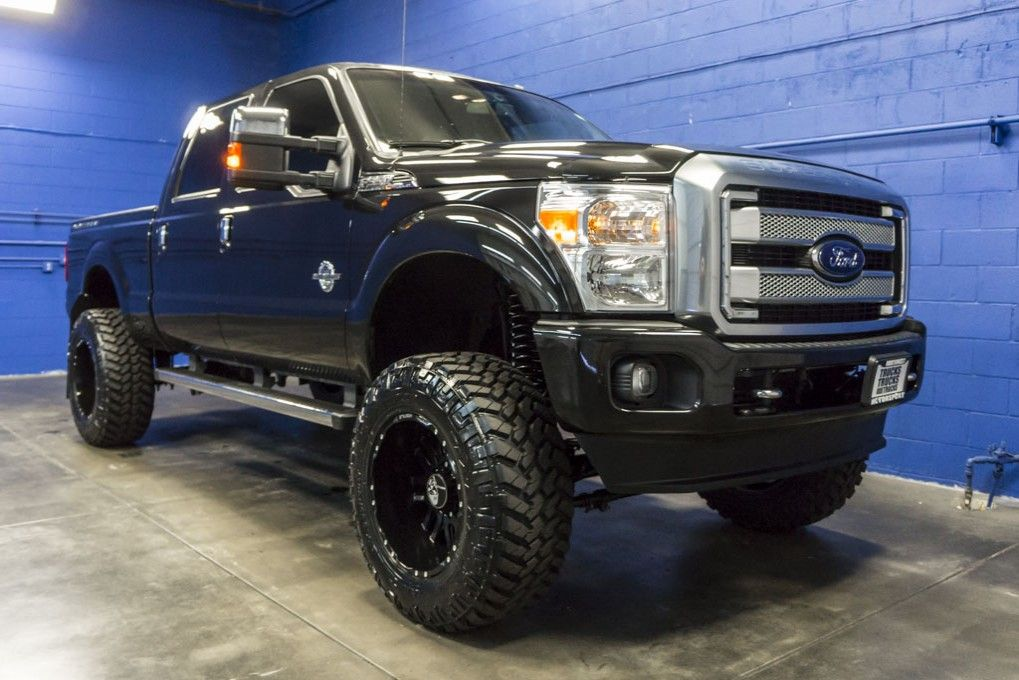 Lifted 2015 Ford F 350 Lariat 4x4 Powerstroke Turbo Diesel Truck