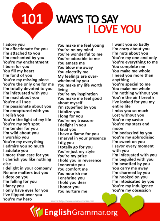English Grammar  Different Ways To Say I Love You Here Are Other Overused