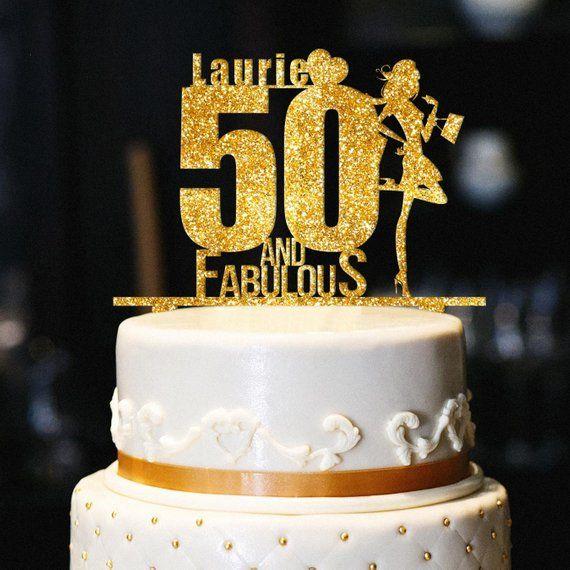 Fabulous 50 Cake Topper: Custom 50 And Fabulous Cake Topper, Glitter Birthday Cake