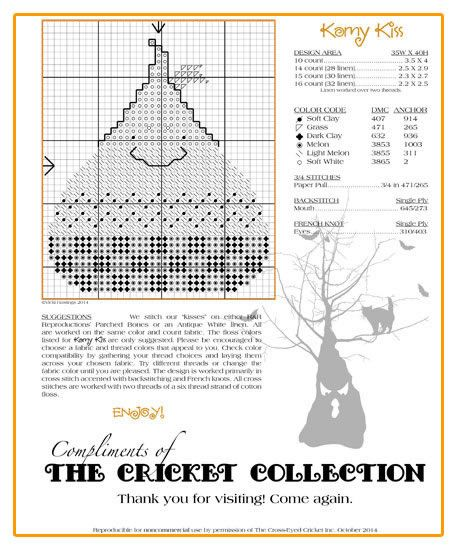 The Cricket Collection Our Gift To You Cross Stitch Freebies Halloween Cross Stitch Patterns Cross Stitch