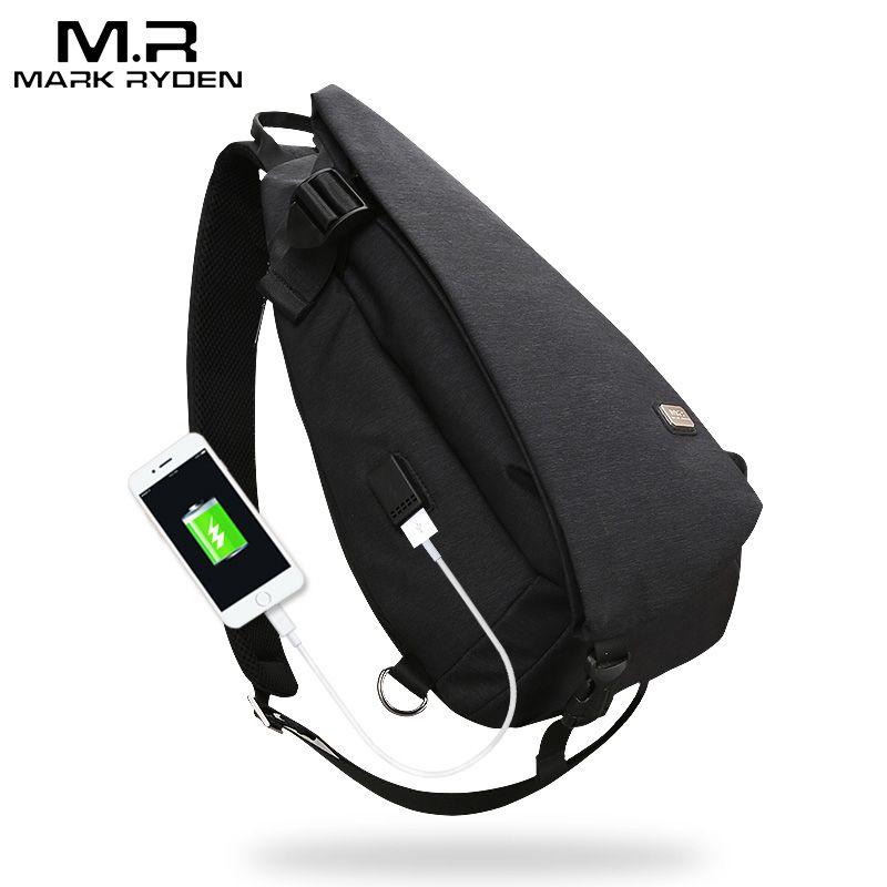 Chest Bag Men USB Design High Capacity Cross Body Suit 9.7 Inch Water Repellent