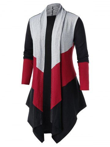 Plus Size Color-blocking Open Asymmetric Tunic Knit Cardigan