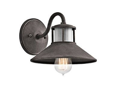 Kichler 49267wzc Laken 1 Light Exterior Wall Lantern And Satin Etched Ribbed Glass Accents Weat Industrial Wall Lantern Farmhouse Outdoor Lighting Wall Lights