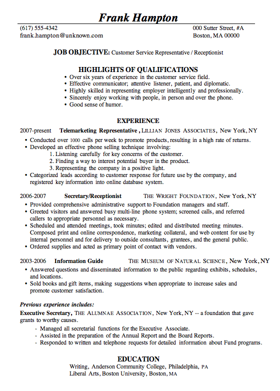 Receptionist Resume Format Resume Sample Customer Service Receptionist  Misc  Pinterest .