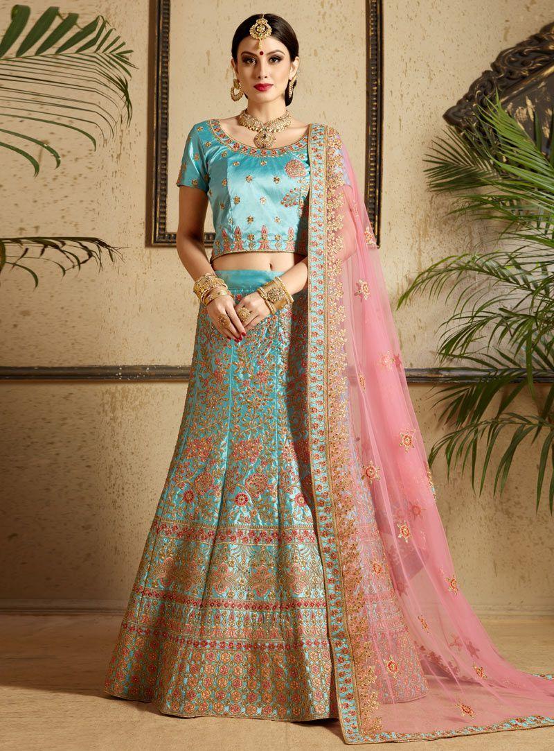 0662ab337b Sky blue satin wedding lehenga choli 1301 Sky blue satin wedding lehenga  choli 1301 Sari,