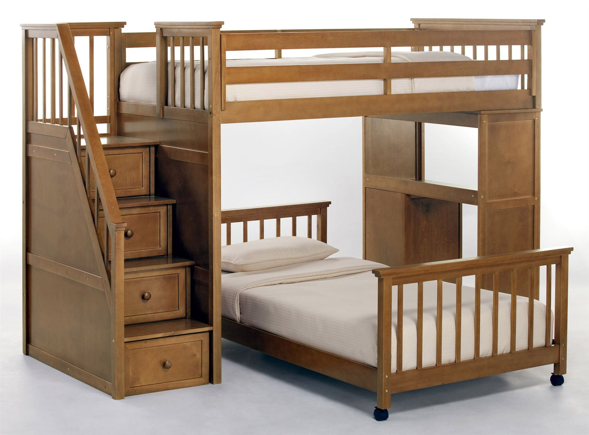 loft bed images 99.5 in. Stair Loft w Twin Lower Bed