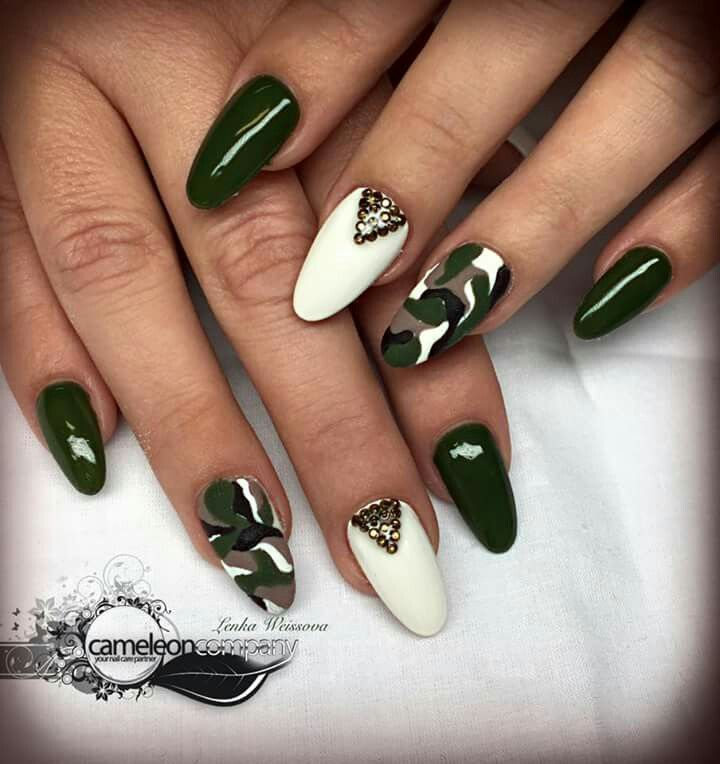 Almond Nails Army Green Camouflage Nails Camo Nails Army Nails