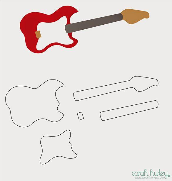 17 Awsome Guitar Cake Templates Designs Trabajos Variados
