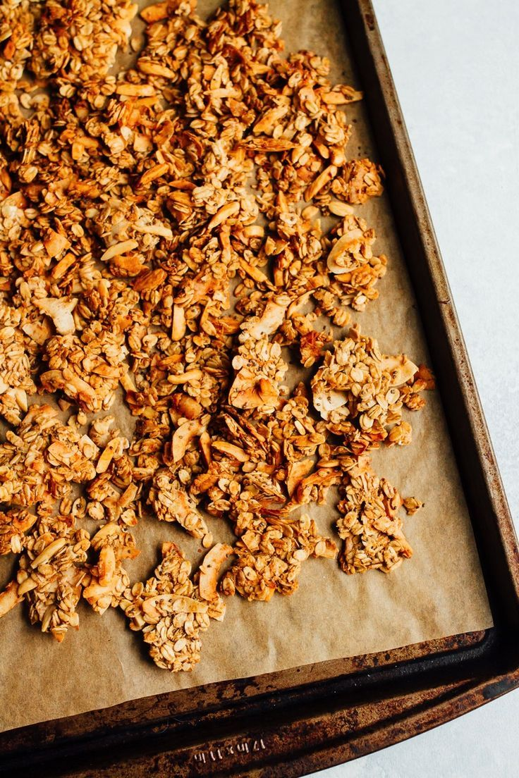 Coconut almond granola with clumps eating bird food