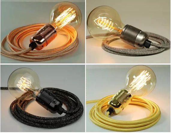 Premium Fabric Flex Cable Plug In Pendant L& Light Set E27 Steel Fitting u0026 40w Globe & Premium Fabric Flex Cable Plug In Pendant Lamp Light Set E27 Steel ...
