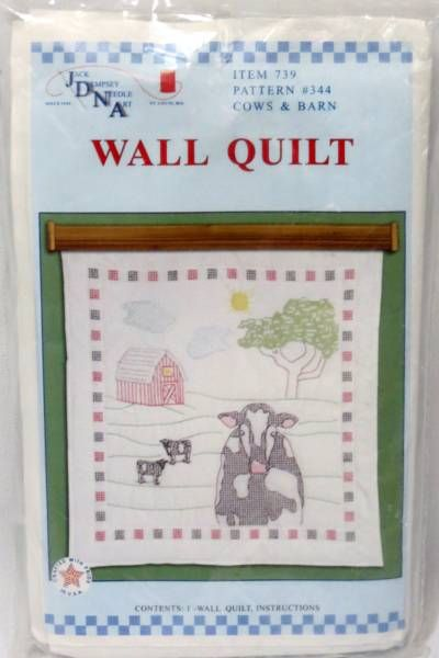 Cows and Barn Wall Quilt St&ed For Embroidery Cross Stitch, Jack ... : stamped embroidery quilt kits - Adamdwight.com