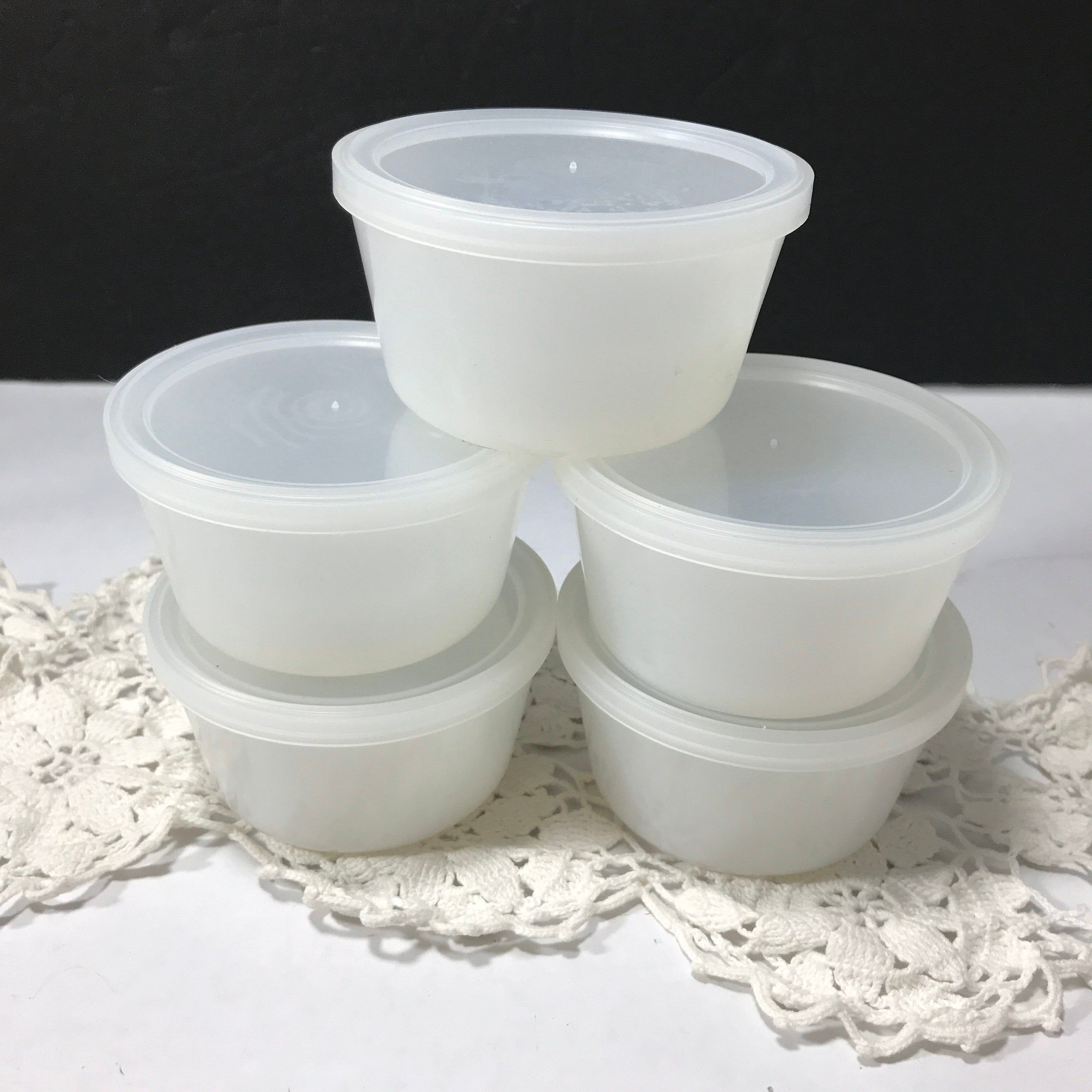 5 vintage glasbake white custard cups with plastic lids