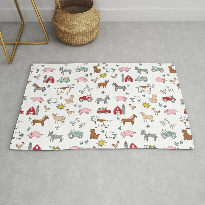 Farm animals nature sanctuary cow pig goats chickens kids gender neutral Rug by andrealaurendesign