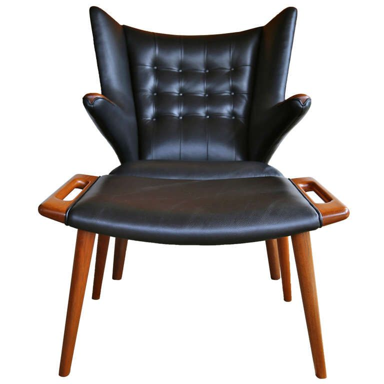 Outstanding Leather Papa Bear Chair And Ottoman By Hans J Wegner Ibusinesslaw Wood Chair Design Ideas Ibusinesslaworg