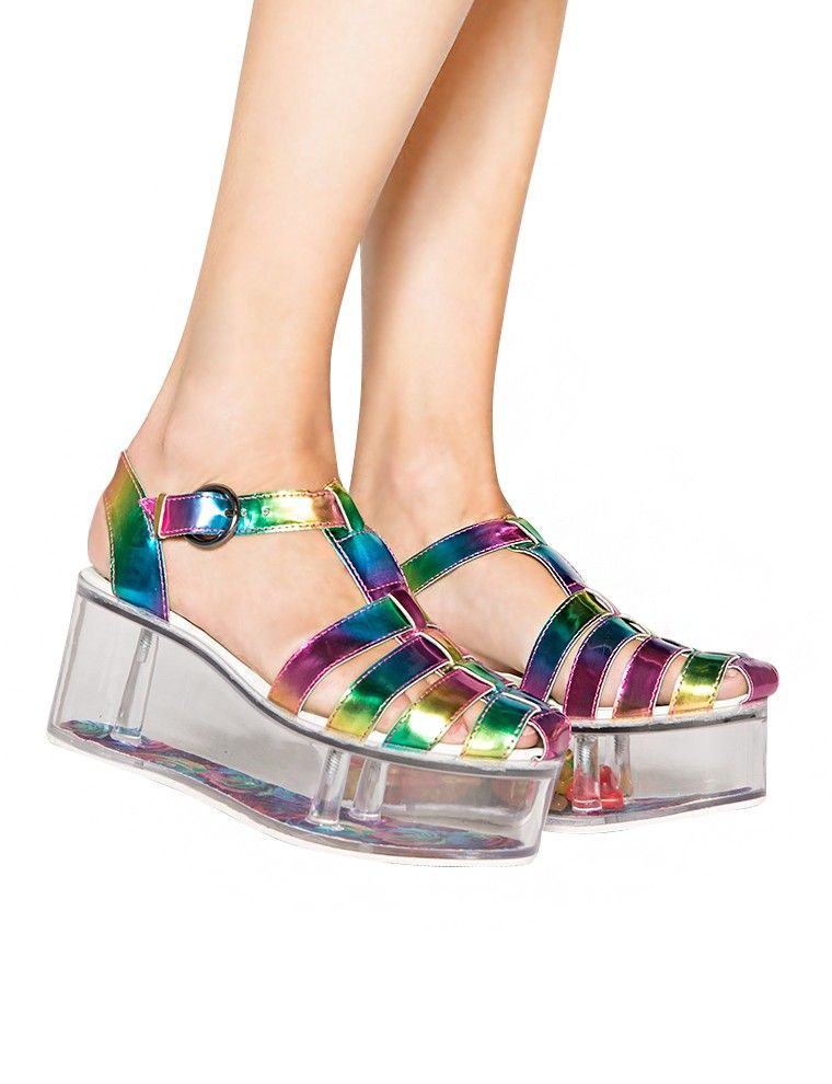 Charlii Hologram Platform Sandals - YRU