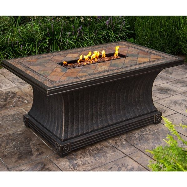 Gas Firepit Table With Red Lava