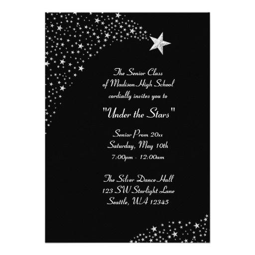 """silver falling stars prom formal invitations """" x """" invitation, 5 x 7 invitation cards, 5 x 7 invitation cardstock"""