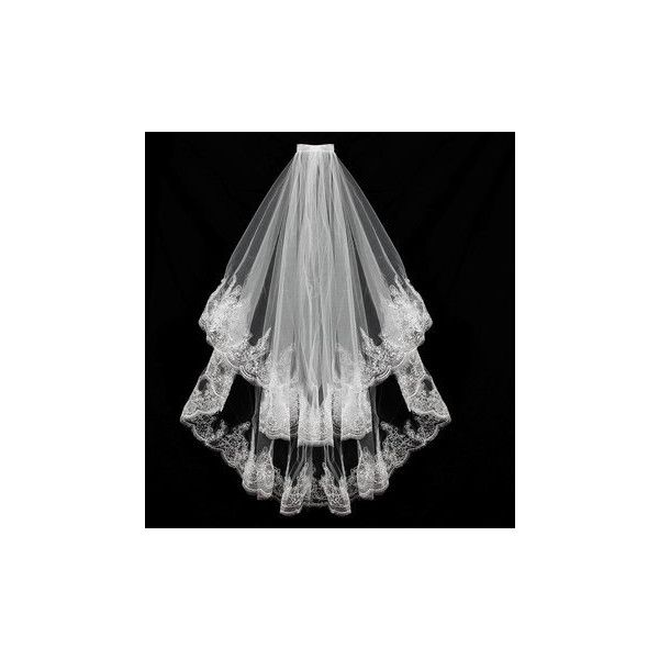 2 Layers Bride Lace Sequin Decorative Edge Bridal Wedding Elbow Veil... ($9.91) ❤ liked on Polyvore featuring accessories and pink