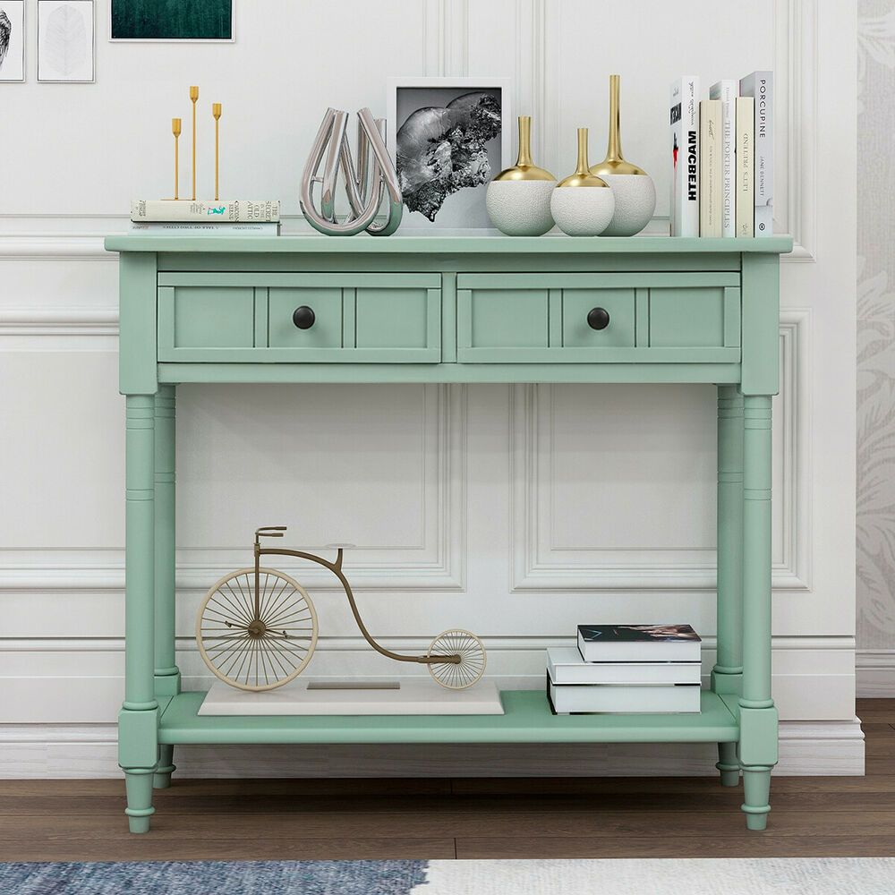 Details About Retro Blue Antique Style Table For Living Bed Room W 2 Drawers And Bottom Shelf In 2020 Living Room Table Blue Console Table Entryway Console Table