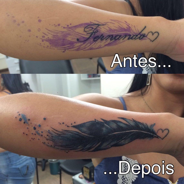 Pena Aquarela Cobertura De Nome Cobertura De Tatuagem Tatuagem