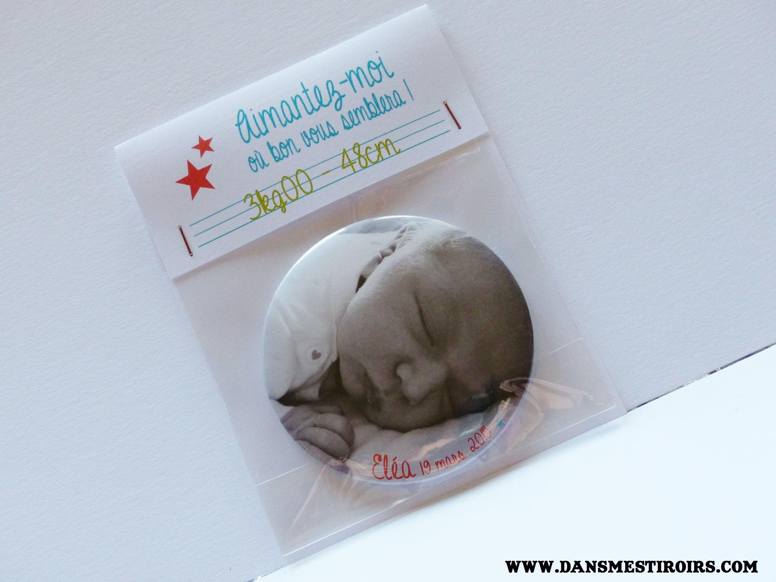 Faire-part de naissance original Magnet photo bébé fait par www.dansmestiroris.com