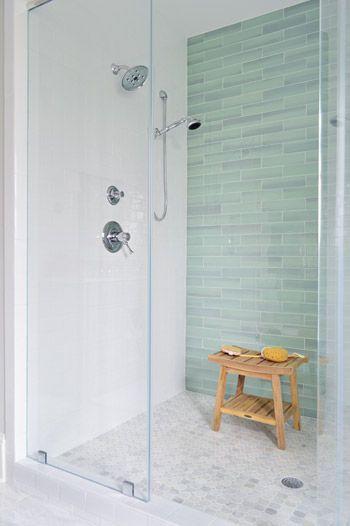 Sea Green Glass Tile White Subway Tile Frameless Shower Door Marble Mosaic Floor Tile Bathroom Shower Tile Bathrooms Remodel Tile Bathroom