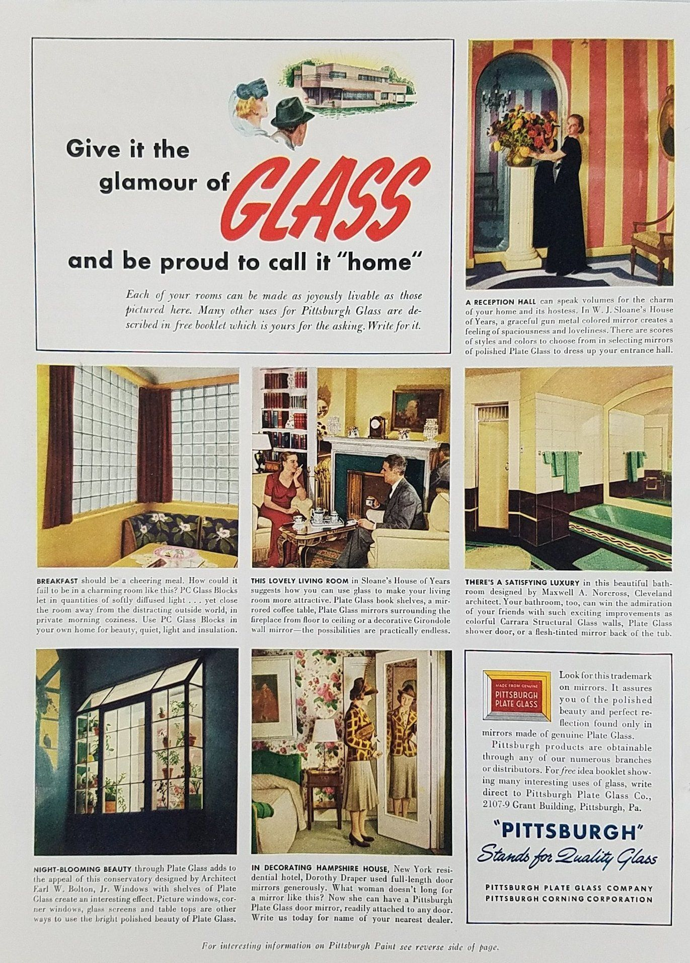 1939 Pittsburgh Glass Vintage Ad - Glamour Of Glass Living Room ...