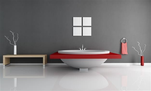 Zen et graphique pour une salle de bain #gris et #rouge | Zolpan ...