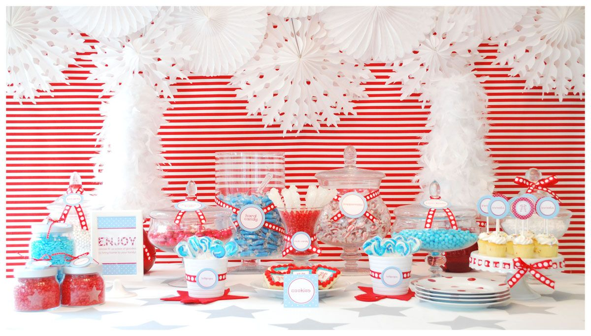 Christmas dessert table decoration ideas - Red And White Striped Paper As A Table Runner Sweet Treats Dessert Table
