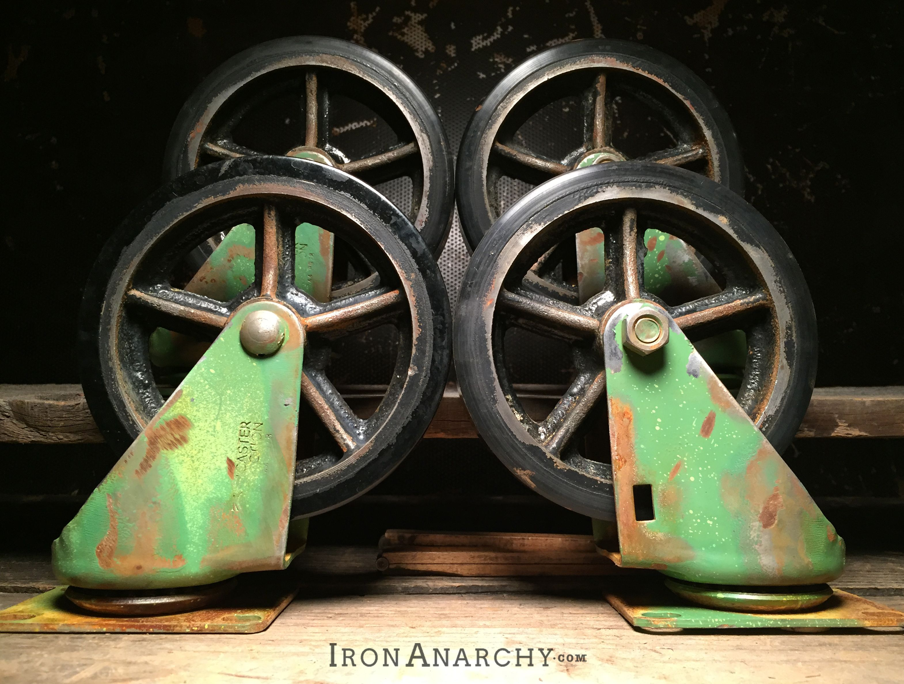 Vintage Industrial Casters With A Custom Aged Green Paint Effect From Ironanarchy Com Industrial Casters Vintage Industrial Vintage Industrial Furniture