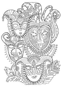 Free coloring page coloring mask carnival Coloring page with