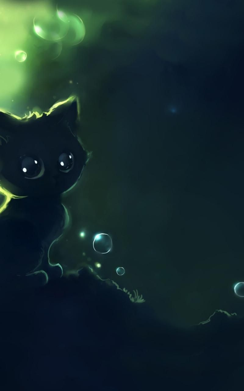 Abstract Cats Apofiss Wallpaper Cats Illustration Black Cat Anime Cute Cartoon Animals