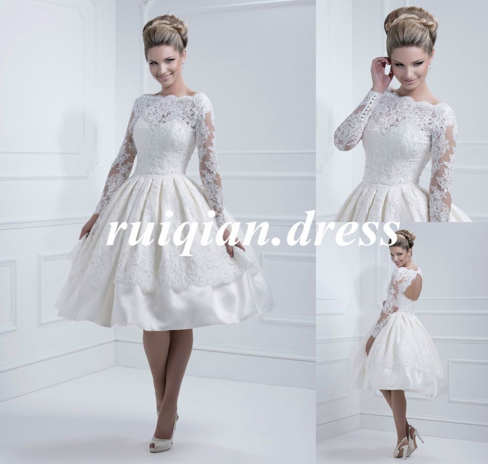 Elegant Long Sleeve Satin Short Ball Gown Wedding Dresses Bridal ...