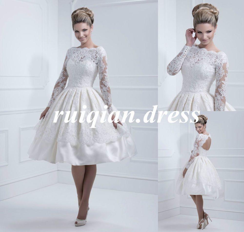 Elegant long sleeve satin short ball gown wedding dresses bridal