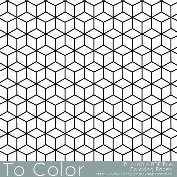 This Is A Printable PDF Coloring Page From To Color Featuring An All Over Repeating Geometric